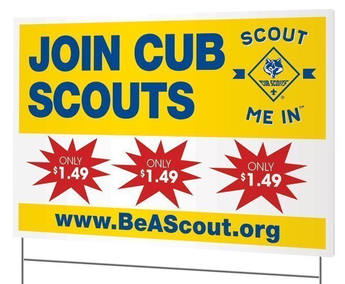 Join Cub Scouts Yellow yard sign only $1.49